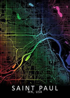 Saint Paul MN USA City Map