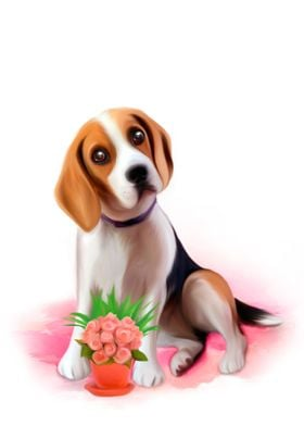 BEAGLE WITH BASKET OF FLOWERS PICTURE FRAME