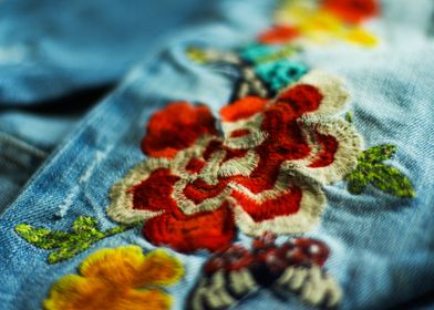 Embroidery flower on jeans
