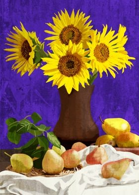 Sunflowers and pears