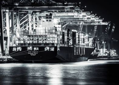 container port at night