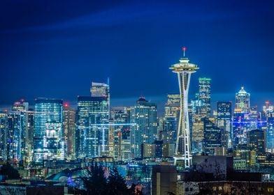 Seattle skyline blue sky