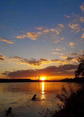 Colorful Sunset at Vistula