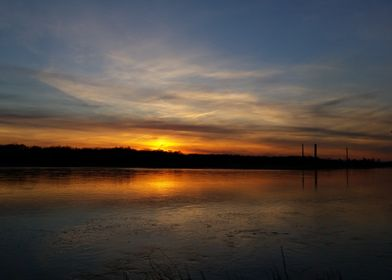 Sunset over Wisla river