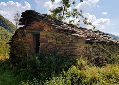 peaceful old hut on a hill