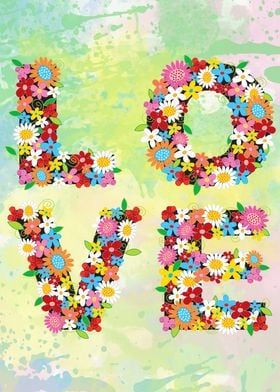 Love floral typography