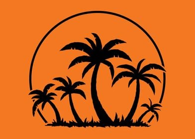 Palms and Sunset in Black