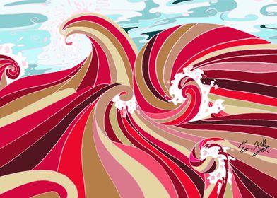 Red Ocean Wave
