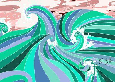 Teal Ocean Wave