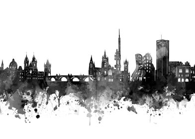 prague skyline black