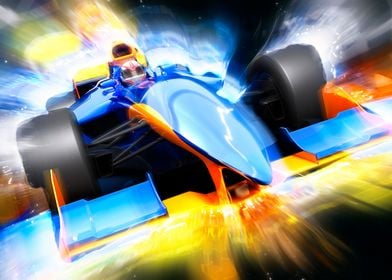 F1 bolide with light effec