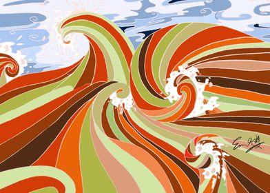 Orange Ocean Wave