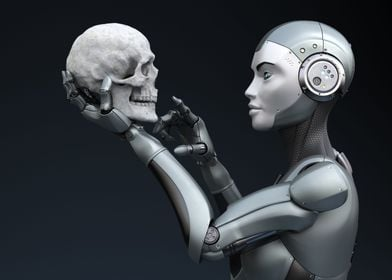 Robot with human skull in