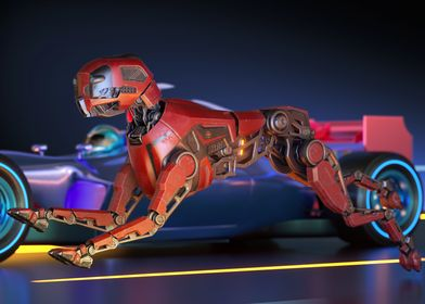Red robot dog is racing wi