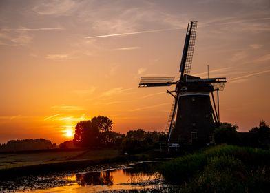 Dutch Windmill in Sunset