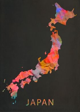 Japan Tie Dye Country Map