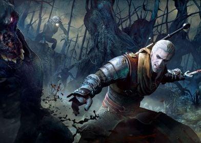 Geralt fighting Foglings