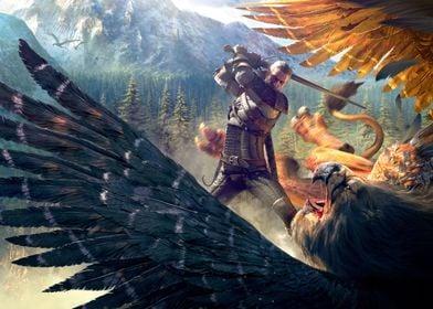 Geralt battling Griffin