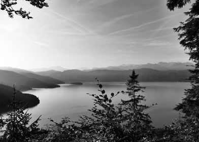 Lake Walchensee misty BW