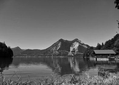 Lake Walchensee mountainBW