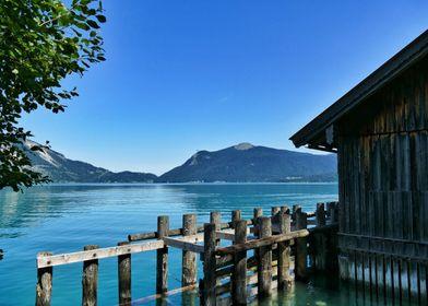 Lake Walchensee with hut