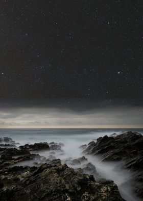 Night sky over the coast