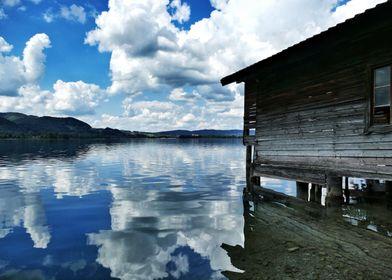 Lake Kochelsee with hut