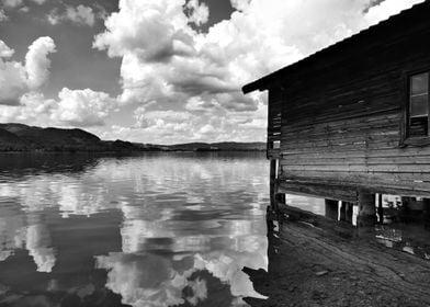 Lake Kochelsee with hut BW