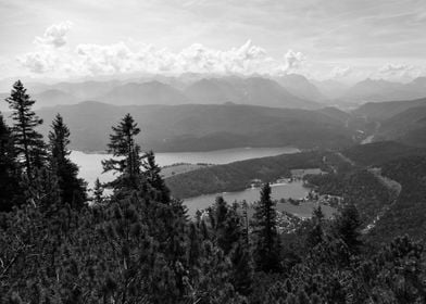 Walchensee from top BW