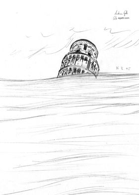 Pisa Leaning Tower drawing
