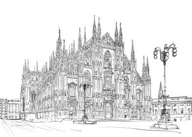 Milan Cathedral drawing