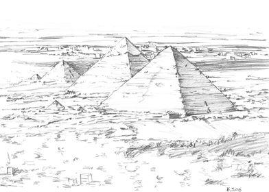 Giza pyramids drawing