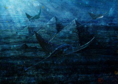 Giza pyramids underwater
