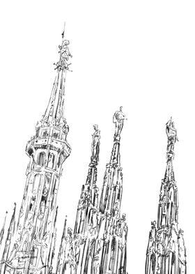 Milan Cathedral spires dra