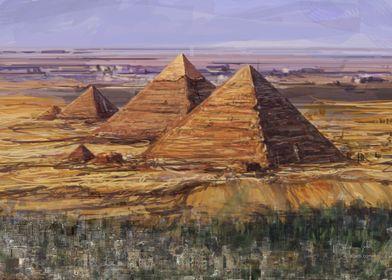 Giza pyramids painting