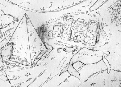 Pyramid of Cestius drawing