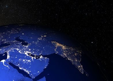 Middle East at night