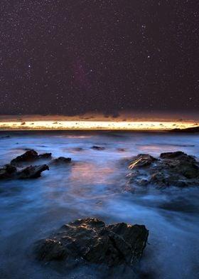 Night sky above the rocks