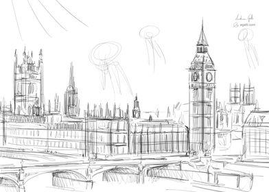 London landscape drawing