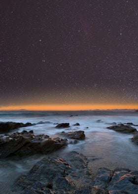 Night sky above the beach