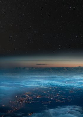 Night sky over city lights