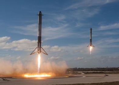 SpaceX Double Booster Land