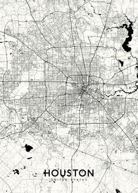 Houston map white