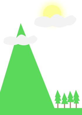 Mountain and pine tree