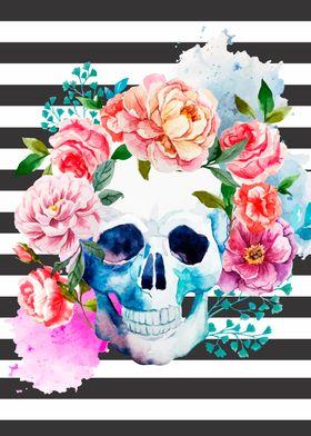 Floral Skull Stripes