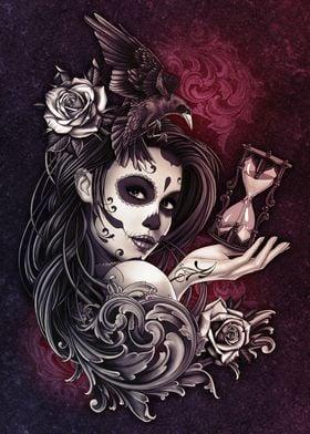 Sugar Skull Girl with Bird