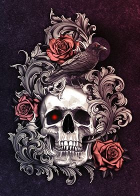 Skull with Crow Filigree