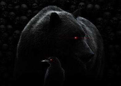 A bear and a crow