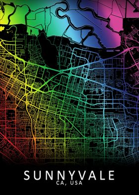 Sunnyvale CA USA City Map
