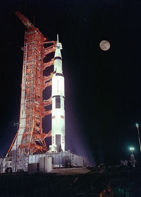 Saturn V And The Moon